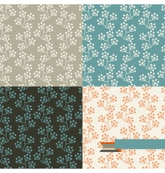 Set of four floral retro seamless patterns vector