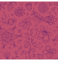 Abstract doodle floral seamless pattern in purple vector