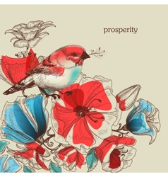 Flowers and bird greeting card prosperity vector