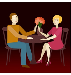 Couple in love sitting vis-a-vis vector