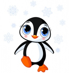 Cute winter penguin vector
