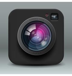 Black color photo camera icon vector