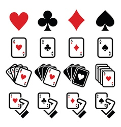 Playing cards poker gambling icons set vector