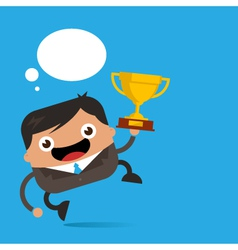 Business man jumping with trophy vector