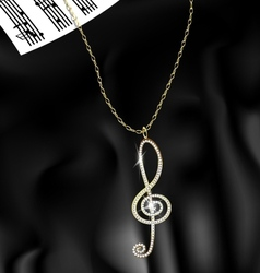 Pendant treble clef vector