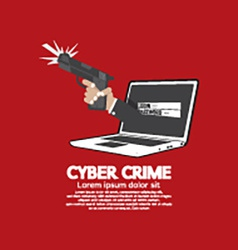 Gun in hand cyber crime concept vector