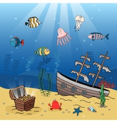 Underwater scene of a sunken ship and treasure vector