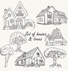 Set of houses and trees vector