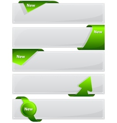 Web button with green ribbon vector