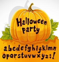 Halloween party cut out pumpkin lowercase alphabet vector