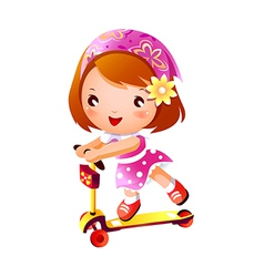 Girl on push scooter vector