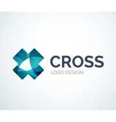 Cross logo design made of color pieces vector