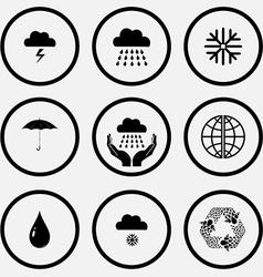 Thunderstorm rain snowflake umbrella weather in vector