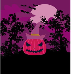 Halloween background with pumpkin and bat abstract vector