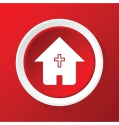 Christian house icon on red vector