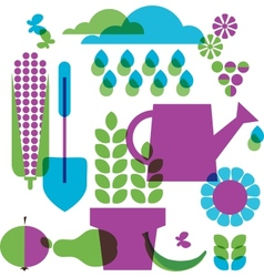 Template of garden objects vector