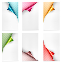 Collection of colorful paper banners paper design vector