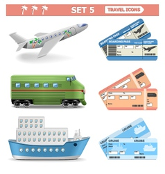 Travel icons set 5 vector