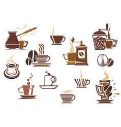 Various coffee icons vector