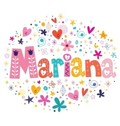 Mariana female name decorative lettering type vector