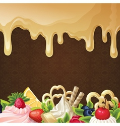 Caramel sweets background vector