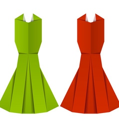 Origami paper ladies evening garments vector