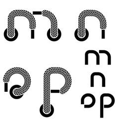Shoelace alphabet lower case letters m n o p vector