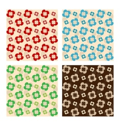 Set of seamless patterns flowers made of drops vector