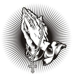 Praying hands with rosary and shining tattoo vector