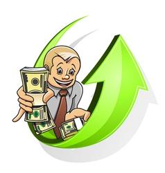 Businessman dollars vector