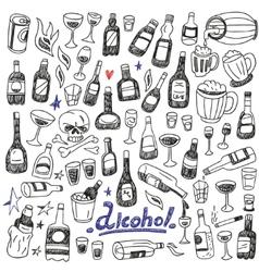 Doodle bottlesalcohol vector