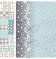 Patchwork with lace fringe vector
