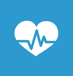Heart pulse icon white on the blue background vector