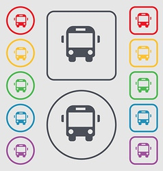 Bus icon sign symbol on the round and square vector