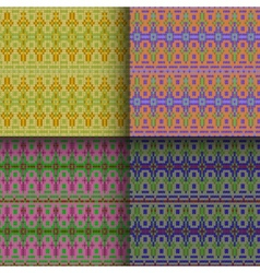 Set of seamless knitted patterns vector