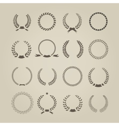 Collection of sixteen circular vintage laurel vector