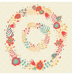 Floral frame cute retro flowers wreathes vector