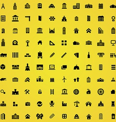 100 architecture icons vector