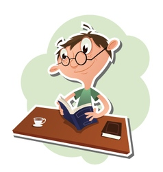 Cartoon man reading a book vector