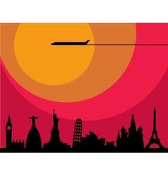 World cities sunset vector