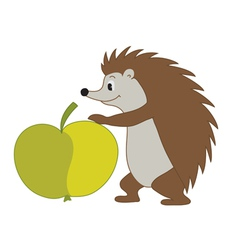 Hedgehog with apple vector
