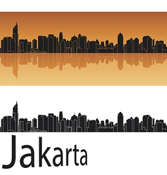 Jakarta skyline in orange background vector