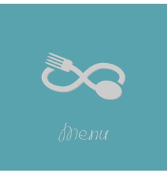 Fork spoon and infinity sign menu card flat design vector