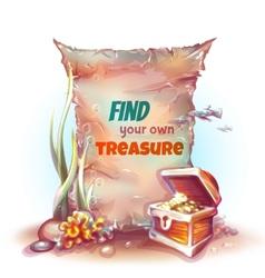 Banner with treasure chest in ocean vector