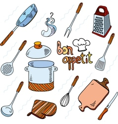 Hand drawn doodle sketch kitchen utensils for vector