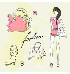 Set of female fashion accessories vector