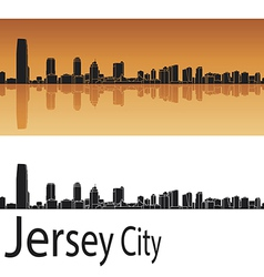 Jersey city skyline in orange background vector