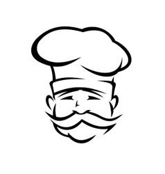 Chef or cook with a handlebar moustache vector