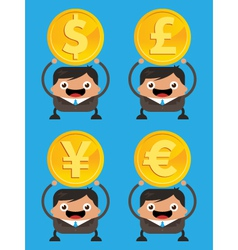 Business men holding currency gold coins vector