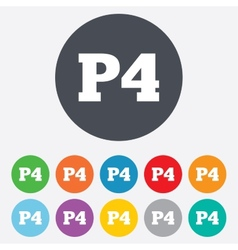 Parking fourth floor icon car parking p4 symbol vector